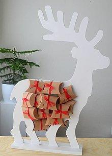 Dekorácie - Adventný kalendár biely jeleň - 12450955_