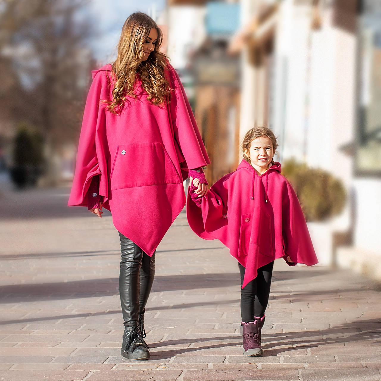 Iné oblečenie - Cyklamenové pončo aj ako Mama-Dcéra - 12451528_