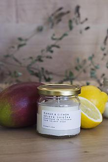 Svietidlá a sviečky - Sójová sviečka - Mango & Citrón - 12450037_