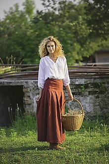 Sukne - Ľanová sukňa Slavena bordová - 12454887_