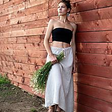 Sukne - Ľanová sukňa Jasna - 12455279_
