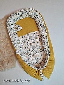Textil - Hniezdo  pre bábätko :  mäkučký  tmavožltý bavlnený menšester - 12456833_