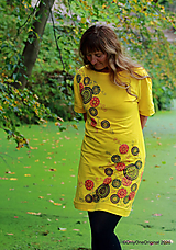 Šaty - Dámske šaty šité, batikované, maľované TRIŠTVRTE NA JESEŇ - 12454996_