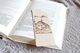 """Papiernictvo - Drevená záložka do knihy """"Chalúpka v údolí"""" - 12457878_"""