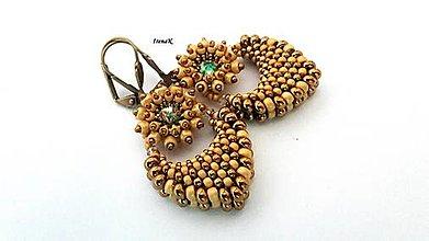 Náušnice - Pod hladinou...mini (bronz-gold) - 12456103_