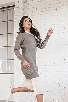 Šaty - Pletené sivé šaty - 100% Mongolský yak - 12458806_