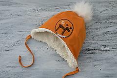 Detské čiapky - Zimná ušianka Reindeer mustard - 12459337_