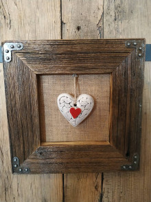 Obrazy - Obraz s rámom zo starého dreva - keramické srdce - 12455146_