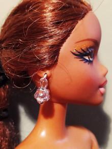 Hračky - Barbie, náušnice strieborná kvetinka - 12457119_