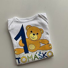 Detské oblečenie - Maľované body k 1. narodeninám (s mackom a modrou jednotkou) - 12459121_