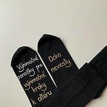 Obuv - Maľované ponožky pre otca nevesty (čierne s bielo zlatým nápisom bez dátumu) - 12459148_
