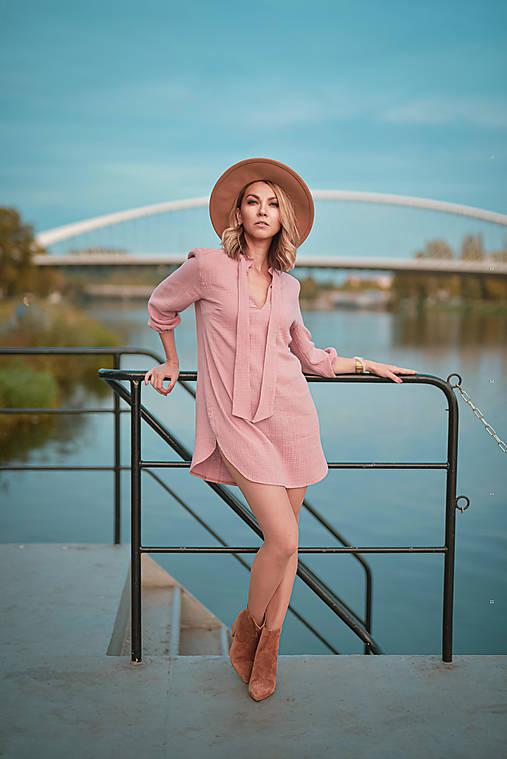 Šaty - Košeľové šaty ružové - 12458005_