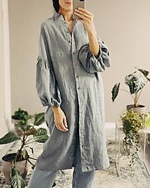 Šaty - Ľanové šaty/kabátik MARINA - 12460819_