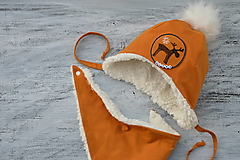Detské súpravy - Zimný set  Reindeer mustard - 12459977_