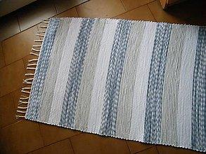 Úžitkový textil - Tkaný koberec bielo-modrý - 12460833_