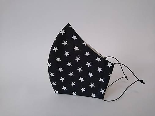 Dizajnové rúško malé hviezdy na čiernej tvarované dvojvrstvové