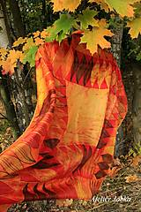 Šatky - Hedvábný šátek Plamínky - 12468169_