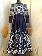 """Šaty - Spoločenské šaty Floral Folk - """" Modrotlač """" - 12464579_"""