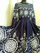 """Šaty - Spoločenské šaty Floral Folk - """" Modrotlač """" - 12464582_"""