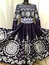 """Šaty - Spoločenské šaty Floral Folk - """" Modrotlač """" - 12464584_"""