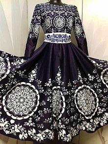"""Šaty - Spoločenské šaty Floral Folk - """" Modrotlač """" - 12464549_"""
