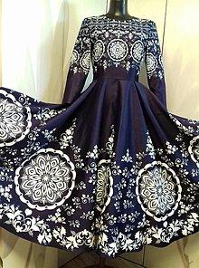 """Šaty - Spoločenské šaty Floral Folk - """" Modrotlač """" - 12464581_"""