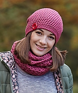 Čiapky - Ružová čiapka s nákrčníkom - 12465169_