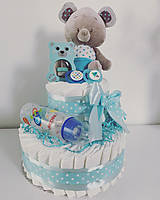 Detské doplnky - Plienková torta - MEDVEDÍK (medium) (4-8 kg - Modrá) - 12465666_