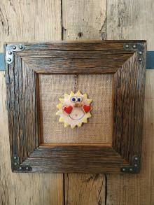 Obrazy - Obraz s rámom zo starého dreva - keramické slnko - 12465120_