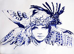 Kresby - Feather woman - tlač A4, A3 - 12467634_
