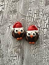 Náušnice - Vianočné sovičky-náušnice - 12466680_