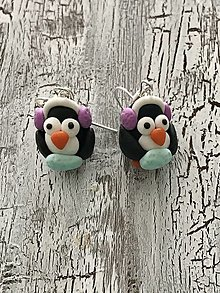 Náušnice - tučniaci so slúchadlami a rukávnikmi - 12466703_