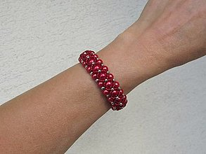 Náramky - Červeno - strieborný náramok - 12467002_