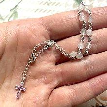 Náramky - Rosary Silver 925 Rose Quartz Bracelet / Strieborný ruženec na ruku alebo do auta s ruženínom - Ag 925 - 12470864_