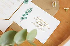 """Papiernictvo - Svadobné oznámenie """"Eucalyptus Gold"""" - 12471336_"""