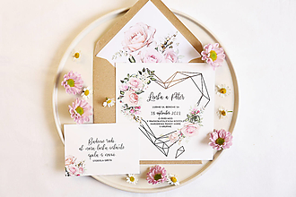 """Papiernictvo - Svadobné oznámenie """"Geometrické srdce a ružové kvety"""" - 12471413_"""