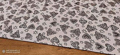 Textil - Látka pretkávaná lurexovou niťou - Medovníčky šedé - cena za 10 cm - 12472398_