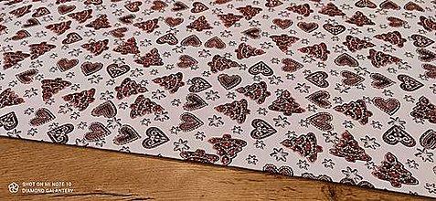 Textil - Látka pretkávaná lurexovou niťou - Medovníčky červené - cena za 10 cm - 12472409_