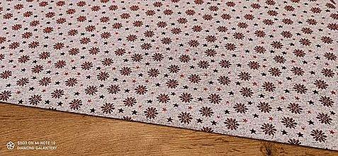 Textil - Látka pretkávaná lurexovou niťou - Vločky na červenom - cena za 10 cm - 12472494_