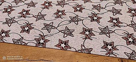 Textil - Látka pretkávaná lurexovou niťou - Hviezdičky na červenom - cena za 10 cm - 12472505_