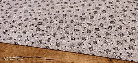 Textil - Látka pretkávaná lurexovou niťou - Vločky na striebornom - cena za 10 cm - 12472572_