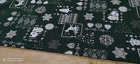 Textil - Látka pretkávaná lurexovou niťou - Sobíci na zelonom - cena za 10 cm - 12472701_