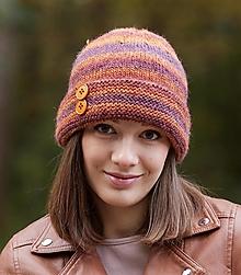 Čiapky - Hnedo-oranžová čiapka - 12472088_