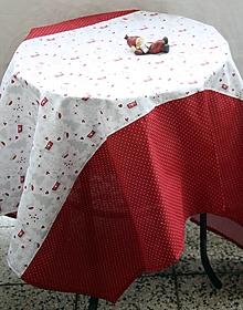 Úžitkový textil - Obrus. Zimný, vianočný, adventný kombinovaný obrus. - 12469594_