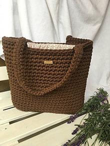 Veľké tašky - Hnedá taška s podšívkou- ZĽAVA 10% - 12473894_