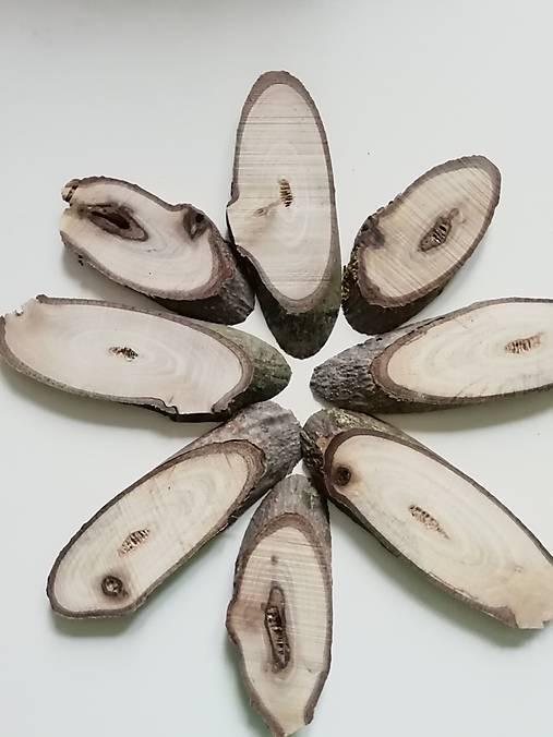 Drevené plátky z orecha, oválne, nepravidelné - balenie 8 ks