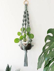 Dekorácie - Makrame držiak na kvetináč // Oliva (dĹžka 60 cm + krúžok 4,5cm) - 12473278_