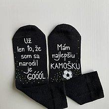 """Obuv - Maľované čierne ponožky pre naj kamaráta futbalistu s nápisom: """"Už len to, že si sa narodil je GÓÓÓL! """" - 12470519_"""