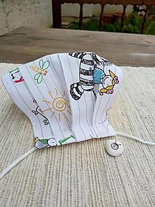 Rúška - Rúško detské jednovrstvové od 14 do 17 cm (Biele s kresbičkami) - 12471421_