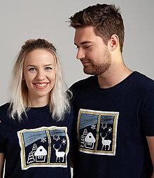 Tričká - Vianočné tričko ZIMNÉ OKNO (UNISEX) - 12472564_